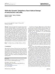 Molecular dynamics simulations of laser-induced damage of ...