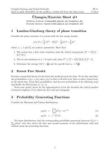 ¨Ubungen/Exercise Sheet #1 1 Landau-Ginzburg theory of phase ...
