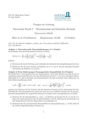 Thermodynamik und Statistische Mechanik Blatt 14 (2. Probeklausur)