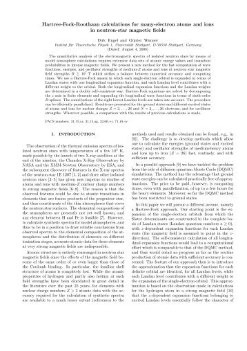 Hartree-Fock-Roothaan calculations for many-electron atoms and ...