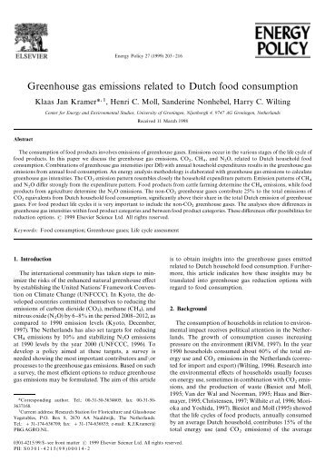 Greenhouse gas emissions related to Dutch food consumption