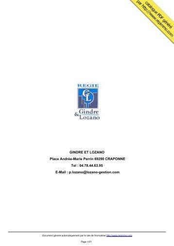 catalogue immobilier GINDRE ET LOZANO CRAPONNE - Repimmo