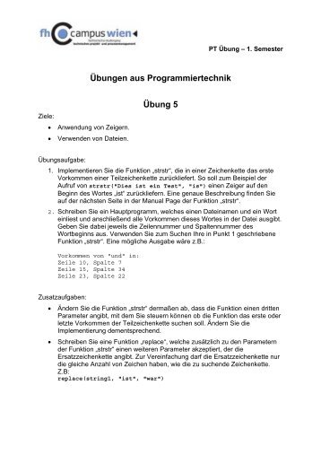 Übungen aus Programmiertechnik Übung 5