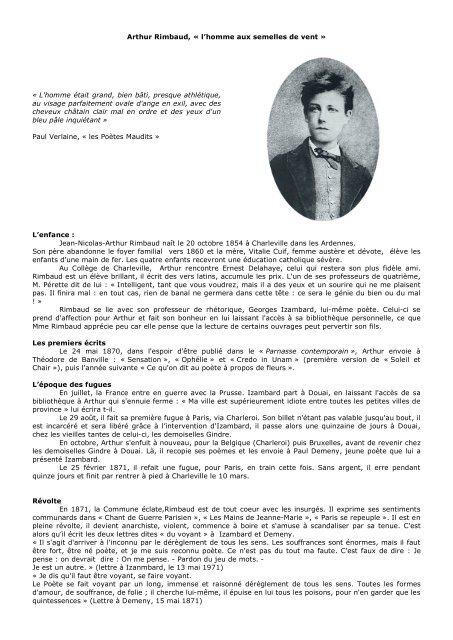 Arthur Rimbaud Biographie Et Poésiepdf Le Blog De