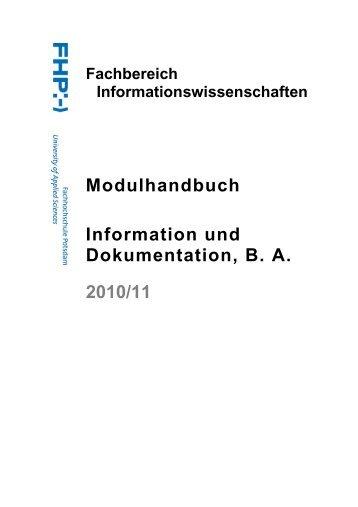 Modulhandbuch - Fachbereich Informationswissenschaften ...