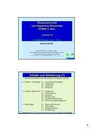Inhalte und Gliederung (1) - Institut für Wasserwirtschaft, Hydrologie ...