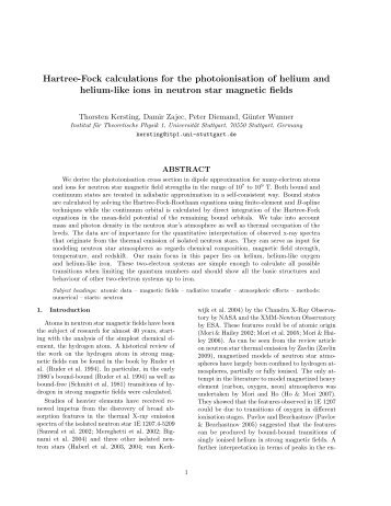 Hartree-Fock calculations for the photoionisation of helium and ...