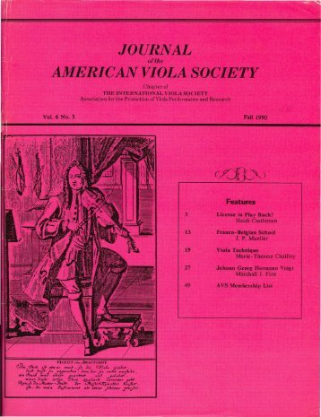Journal of the American Viola Society Volume 6 No. 3, Fall 1990