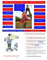 Alliance Française de la Sunshine Coast – August 2012 Newsletter