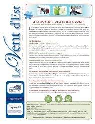 Vent d'Est de février 2011 - Conseil Sport et Loisir de l'Estrie
