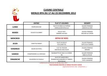 CUISINE CENTRALE MENUS RPA DU 17 AU 23 DECEMBRE 2012