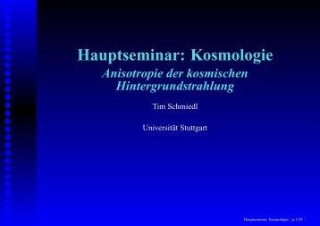 Hauptseminar: Kosmologie - Institut für Theoretische Physik der ...