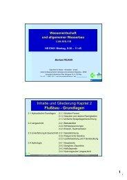 Inhalte und Gliederung Kapitel 2 Flußbau - Grundlagen - Institut für ...