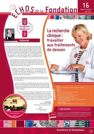 La recherche clinique : - Fondation Saint-Luc