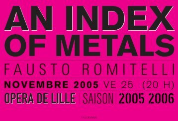 prog an index of metals - Opéra de Lille