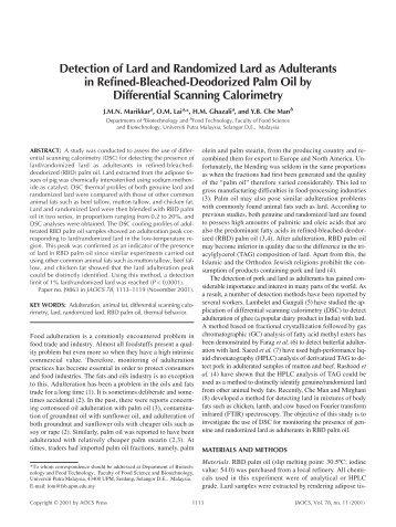 Detection of lard and randomized lard as adulterants in refined ...
