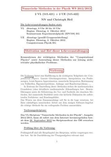Numerische Methoden in der Physik WS 2012/2013 2 VL (515.421 ...