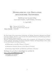 Modellierung und Simulation biologischer Netzwerke - ITB Berlin