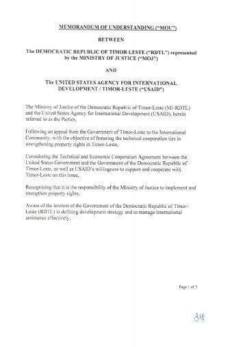 Memorandum of Understanding between MOJ and USAID - Ita Nia Rai