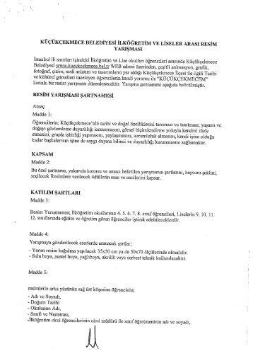 Yarışma Şartnamesi - İstanbul İl Milli Eğitim Müdürlüğü