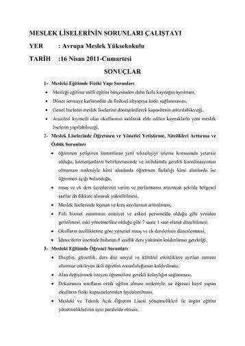 Çalıştay sonuç özetleri görmek için tıklayınız. - İstanbul İl Milli Eğitim ...