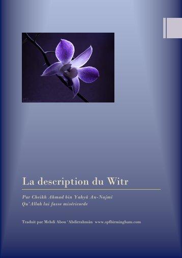 La description du Witr - Islam Sounnah