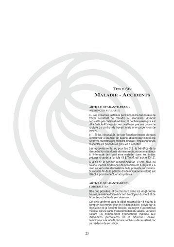 TITRE SIX - Maladie - Accidents - Syntec ingenierie