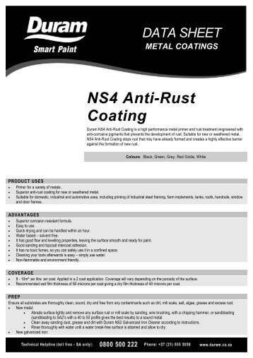NS4 Anti-Rust Coating Datasheet - AutoSpec