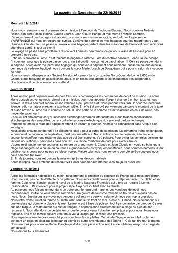 La gazette de Dzogbégan du 22/10/2011 - Electriciens du Monde