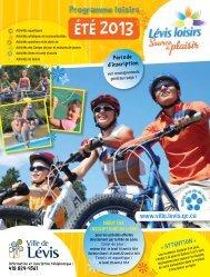 Programme loisirs - Été 2013 - Ville de Lévis