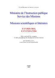VOYAGEURS ET MISSIONNAIRES - Archives nationales