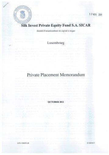 Fund Private Placement Memorandum - Silk Invest