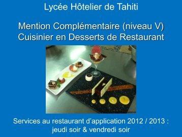 Mention Complémentaire Cuisinier en Dessert de Restaurant