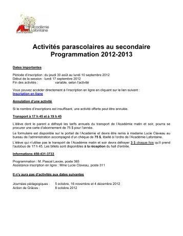 Activités parascolaires SECONDAIRE 2012 - Académie Lafontaine