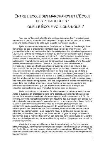 quelle école voulons-nous - Site de Philippe Meirieu