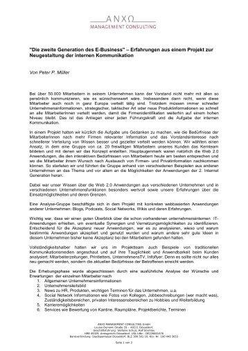 Artikel von Peter Müller - ANXO Management Consulting