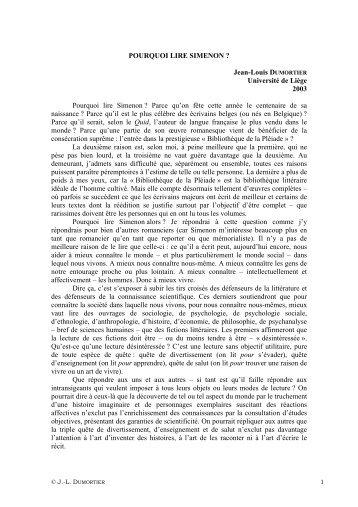 POURQUOI LIRE SIMENON