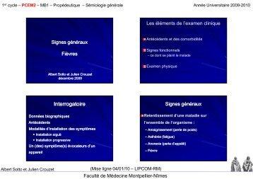 Interrogatoire - Faculté de médecine de Montpellier