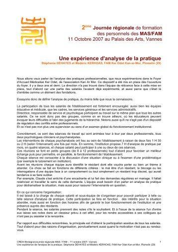 Une expérience d'analyse de la pratique - CREAI de Bretagne