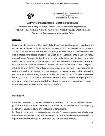 Convento de San Agustín. Estudio arqueológico - Cuba Arqueológica