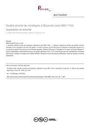 Quatre procès de mystiques à Byzance (vers 960-1143). Inspiration ...
