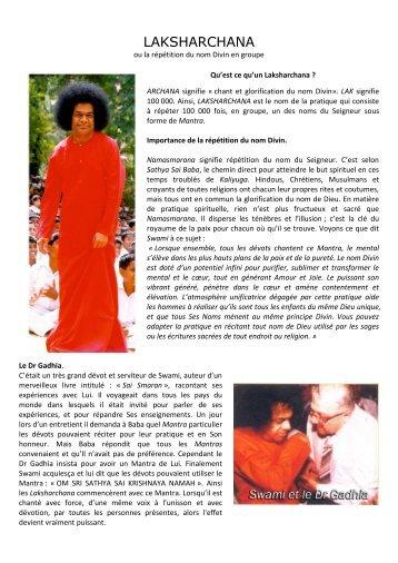 LAKSHARCHANA - Site consacré á Bhagavan Sri Sathya Sai Baba