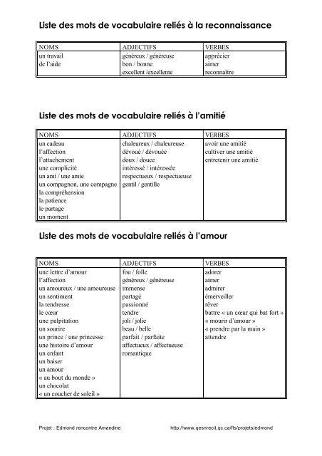 Liste Des Mots De Vocabulaire Relies A L Amitie Learn
