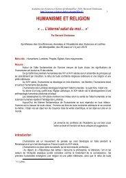 HUMANISME ET RELIGION - Académie des Sciences et Lettres de ...