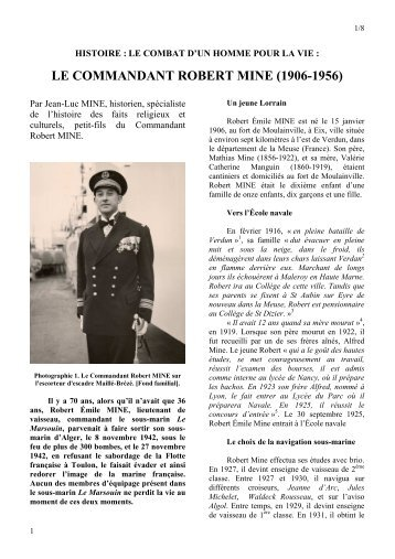 LE COMMANDANT ROBERT MINE (1906-1956)
