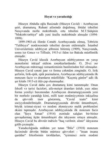 Hüseyn Cavidin həyat və yaradıcılığı. - Azərbaycan Milli Kitabxanası