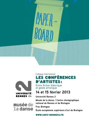 Les conférences d'artistes : - Université Rennes 2