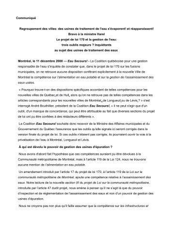 Communiqué Regroupement des villes: des usines de traitement de ...