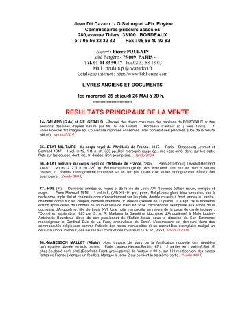 RESULTATS PRINCIPAUX DE LA VENTE - Bibliorare