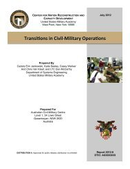 Transitions in Civil-Military Operations - West Point
